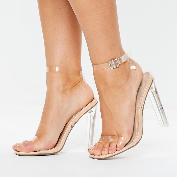 79b4072f091 BNWT Missguided Clear Nude Square Toe Heels